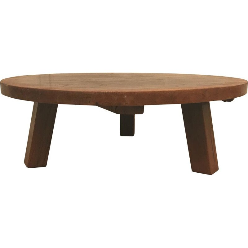 Vintage Rustic oak round coffee table