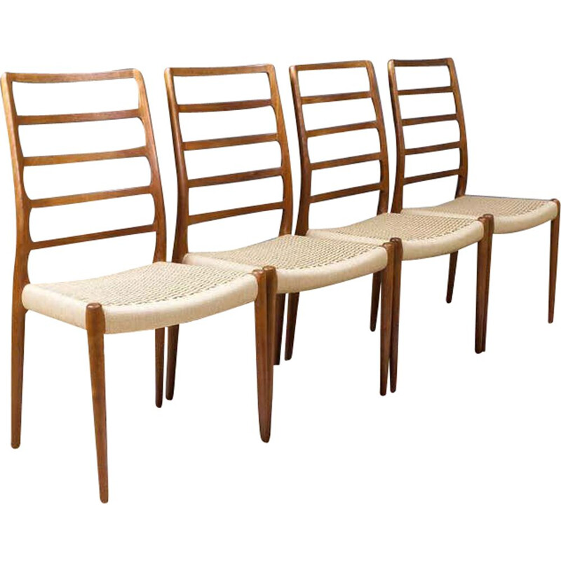 Set of 4 vintage dining chairs by N.O.Moller for J.L. Mollers 1950s