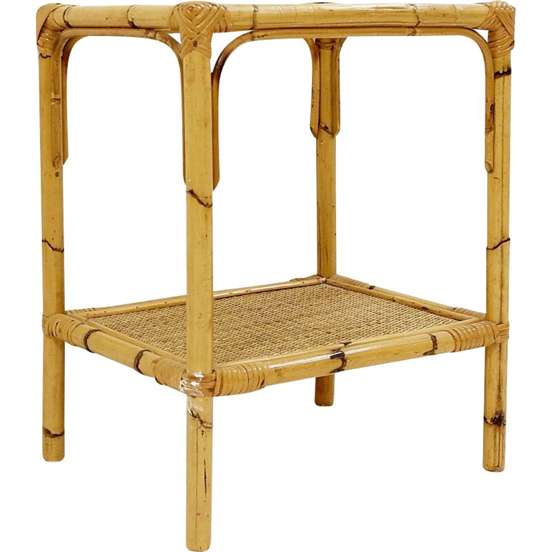 Vintage Rattan And Glass End Table