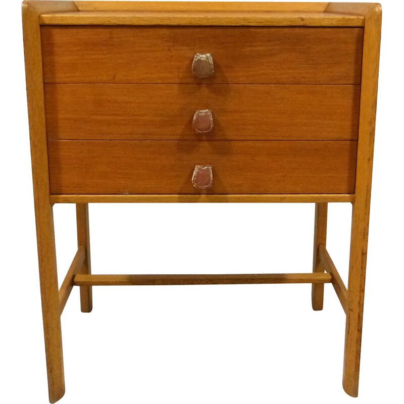 Vintage Teak side table with drawers and leather handles 1960s