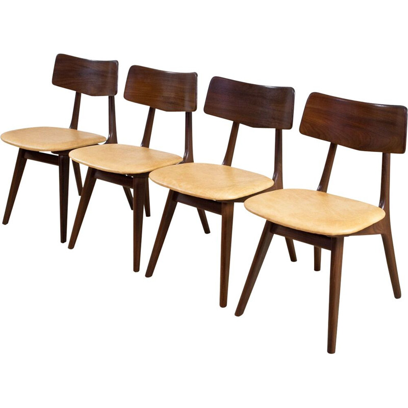 Set of 4 vintage chairs in teak and leather by Louis van Teeffelen 1950s