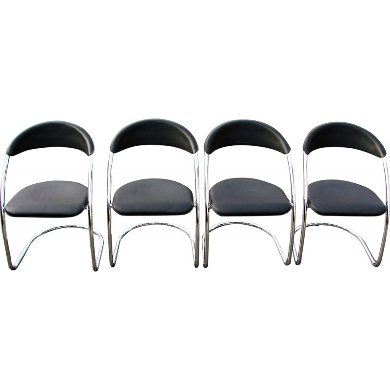 Set of 4 vinage chromed steel and natural leather chairs Italy 1970s