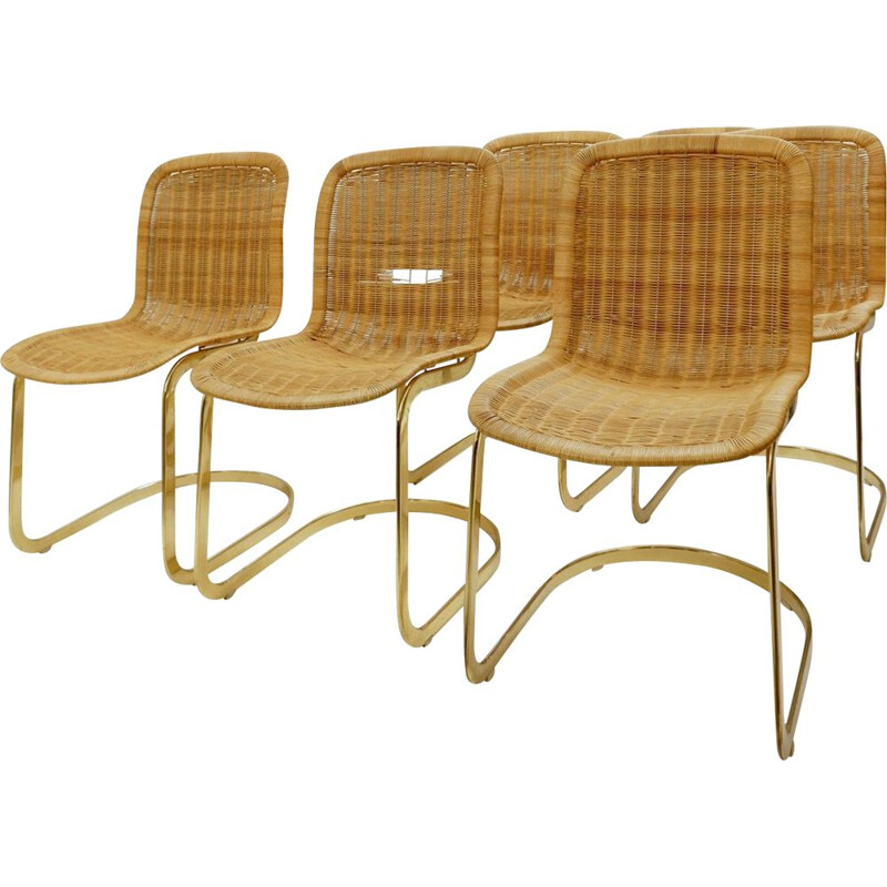 Set of 6 vintage wicker chairs by Cidue 1970s
