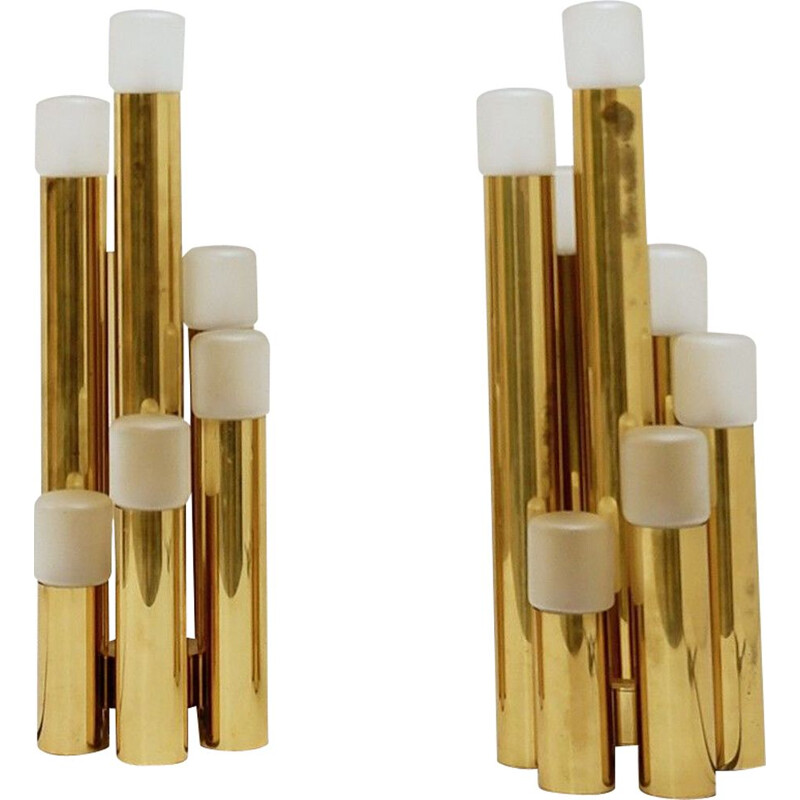 Pair of Vintage Brass Tubular Desk Lamps by Gaetano Sciolari for Boulanger 1970s