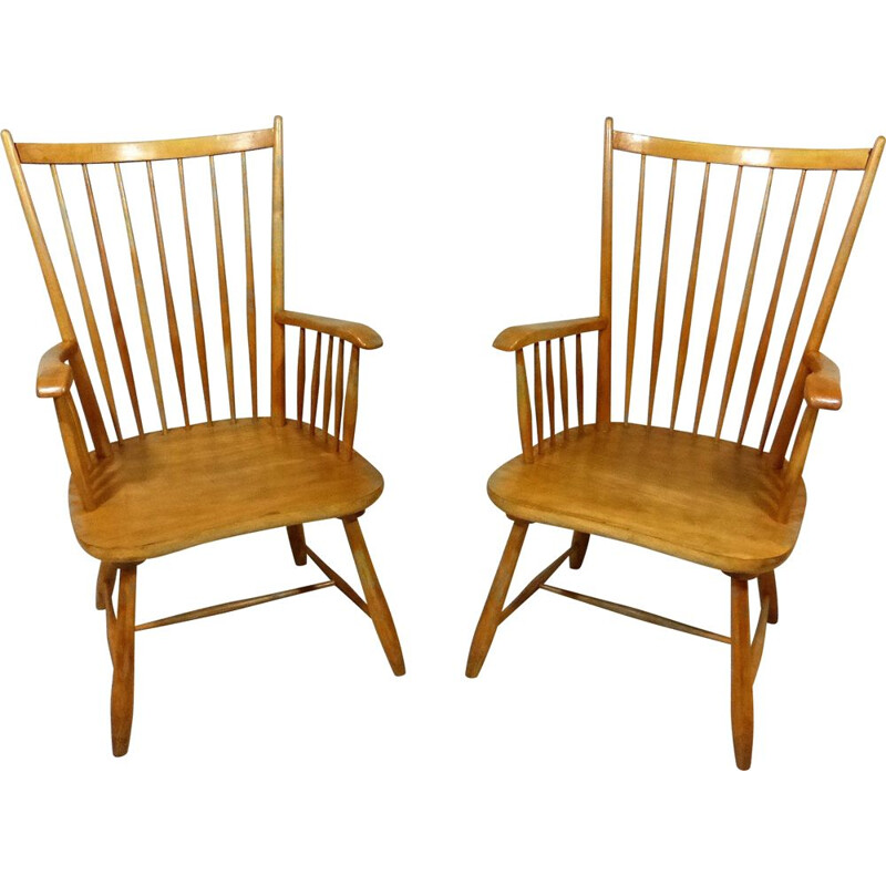 Pair of vintage beech wooden arm chairs Scandinavian 1960s