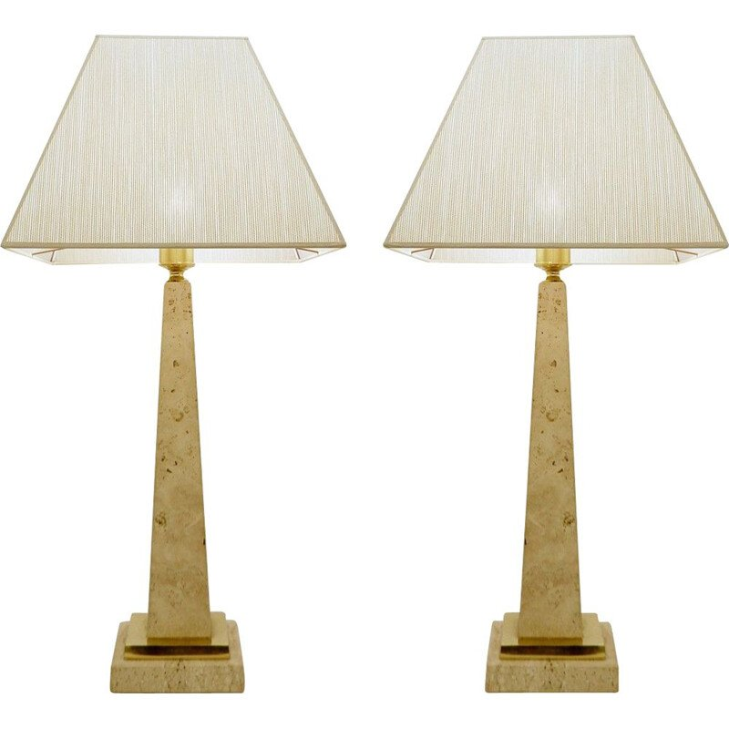 Pair of vintage Travertine Obelisk Table Lamps