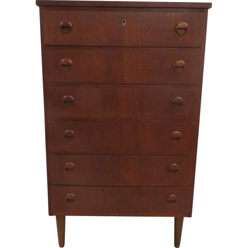 Vintage tall Scandinavian teak chest of drawers 1960s