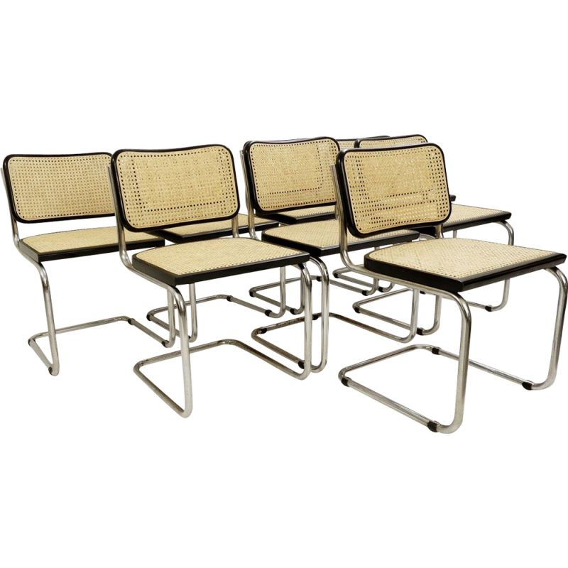 Lot of 8 vintage chairs cane and chrome Italy 1970