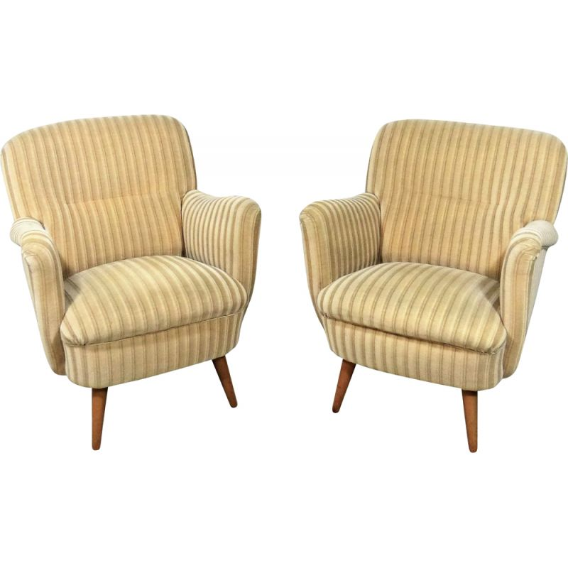 Pair of vintage easy club chairs 1950s