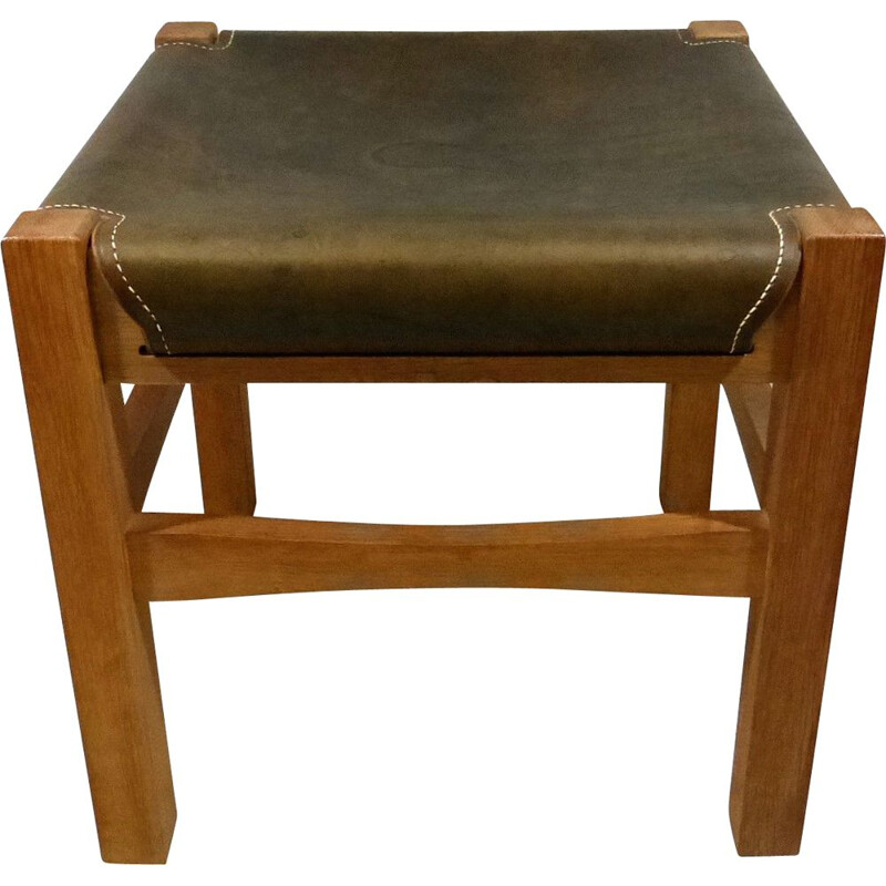 Sturdy wooden vintage stool with saddle leather seat 1970