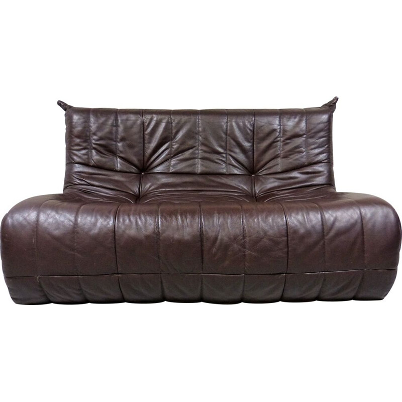 Vintage leather sofa French 1960s
