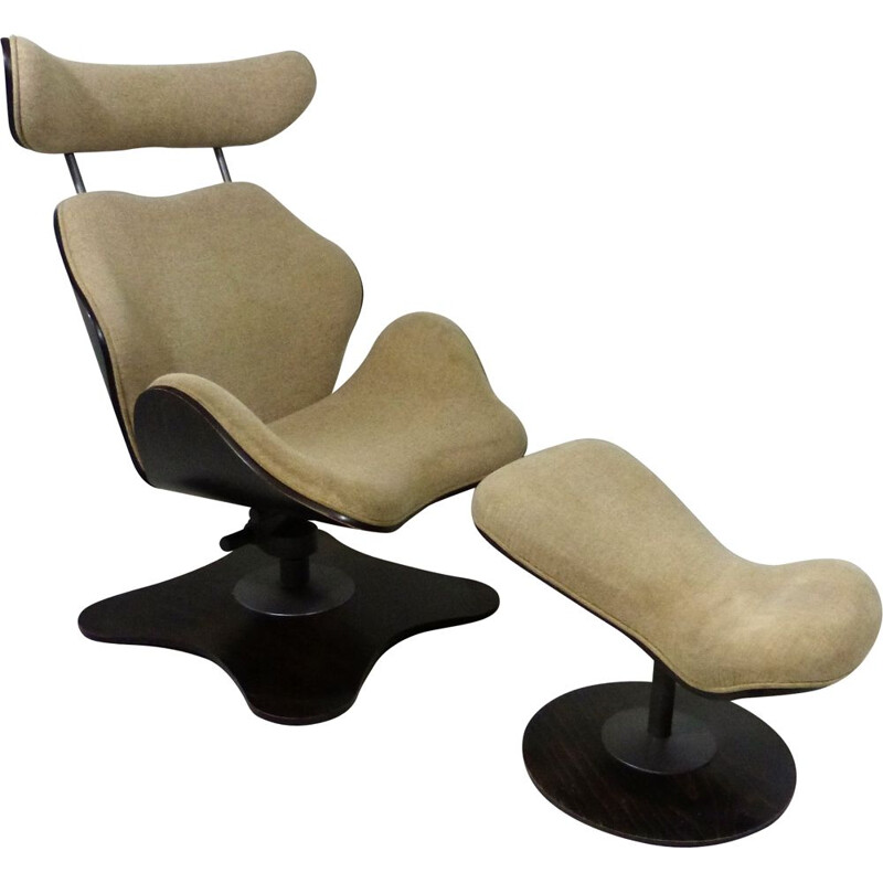 Vintage Lounge chair & hocker TOK by Toshiyuki Kita for Stokke Norway
