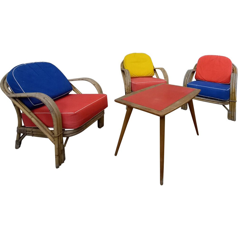 Set of 3 vintage rattan armchairs 1950s