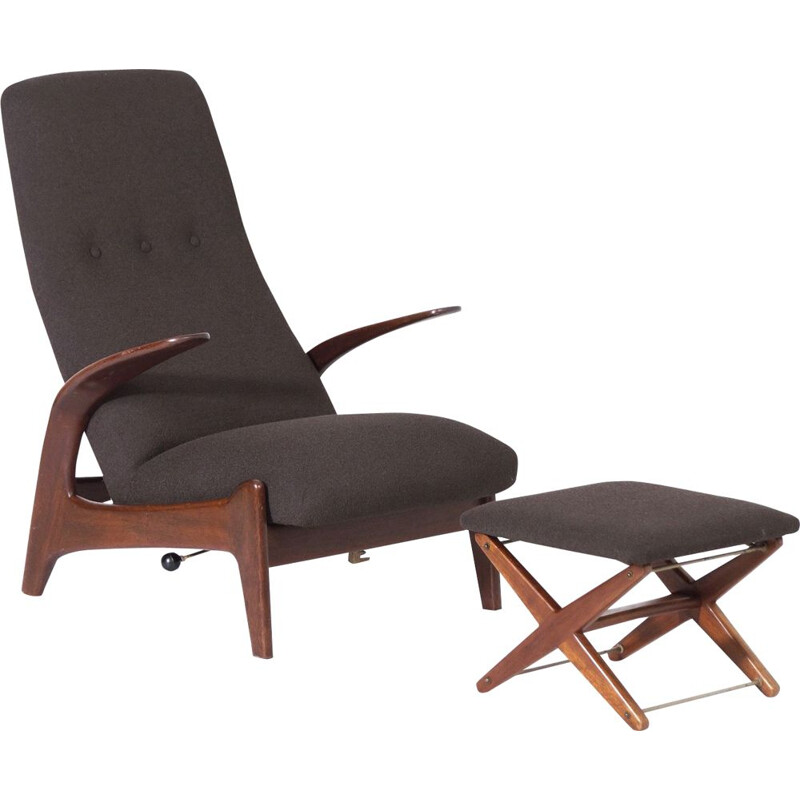 Vintage Lounge chair with Foot Stool by Rastad and Relling for Gimson & Slater Rock n Rest 1960s