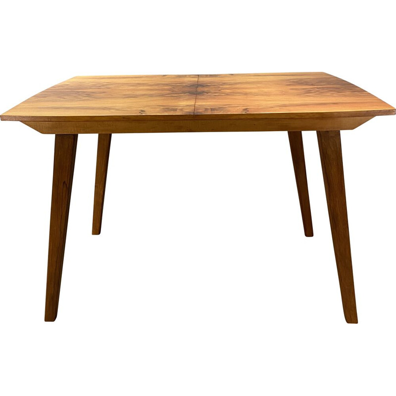 Vintage Extending table veneered with walnut honey-brown 1960s