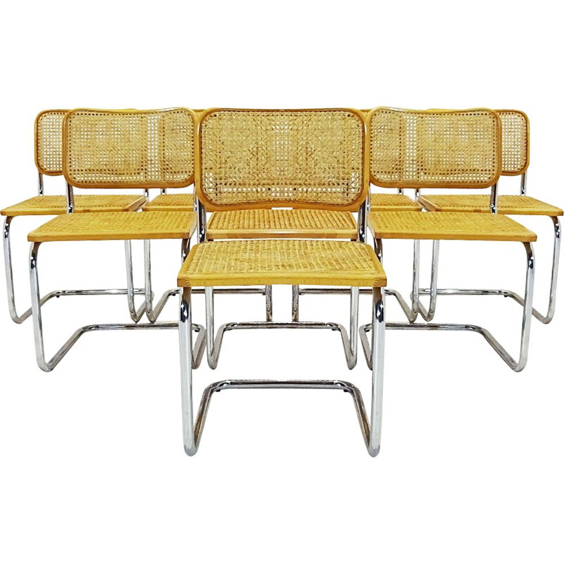 Lot of 8 vintage Marcel Breuer Cesca beechwood chairs 1975s