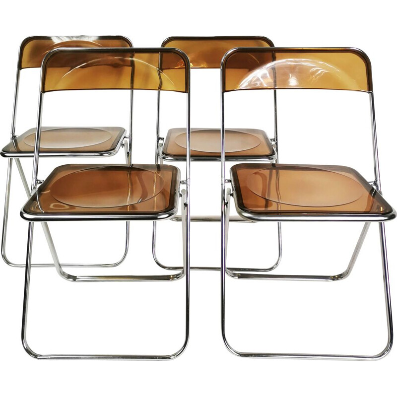Set of 4 vintage modernist chairs Italy 1970s
