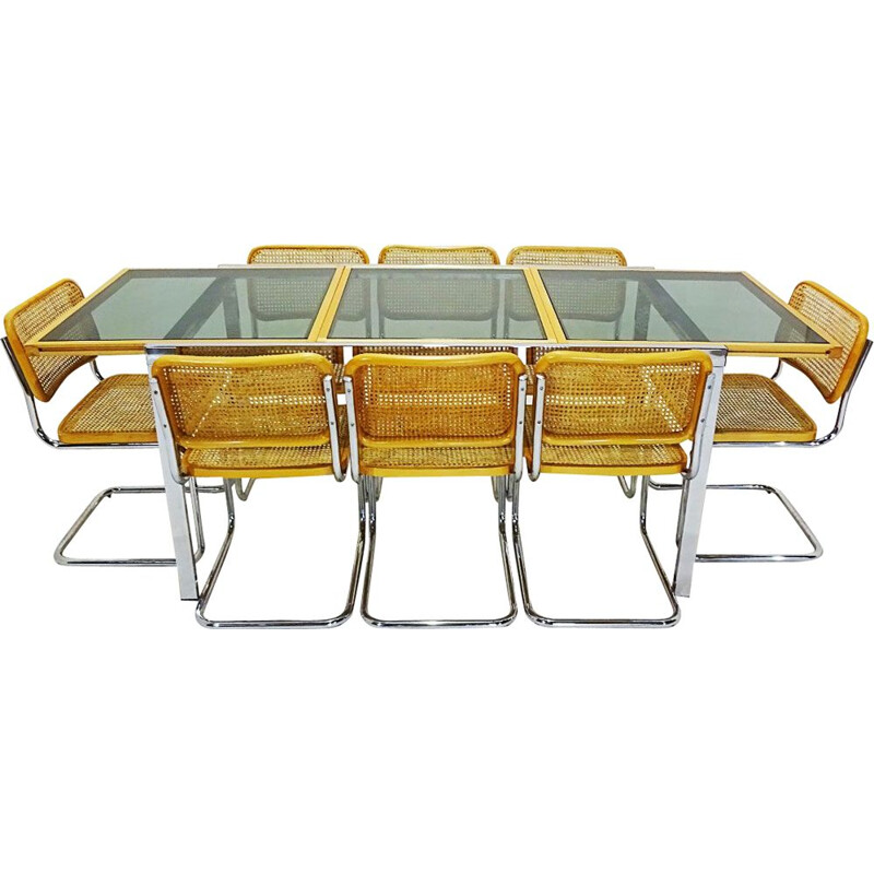 Vintage Cesca dining set with extending table and 8 Marcel Breuer by Cesca Beech, Can and Chrome chairs