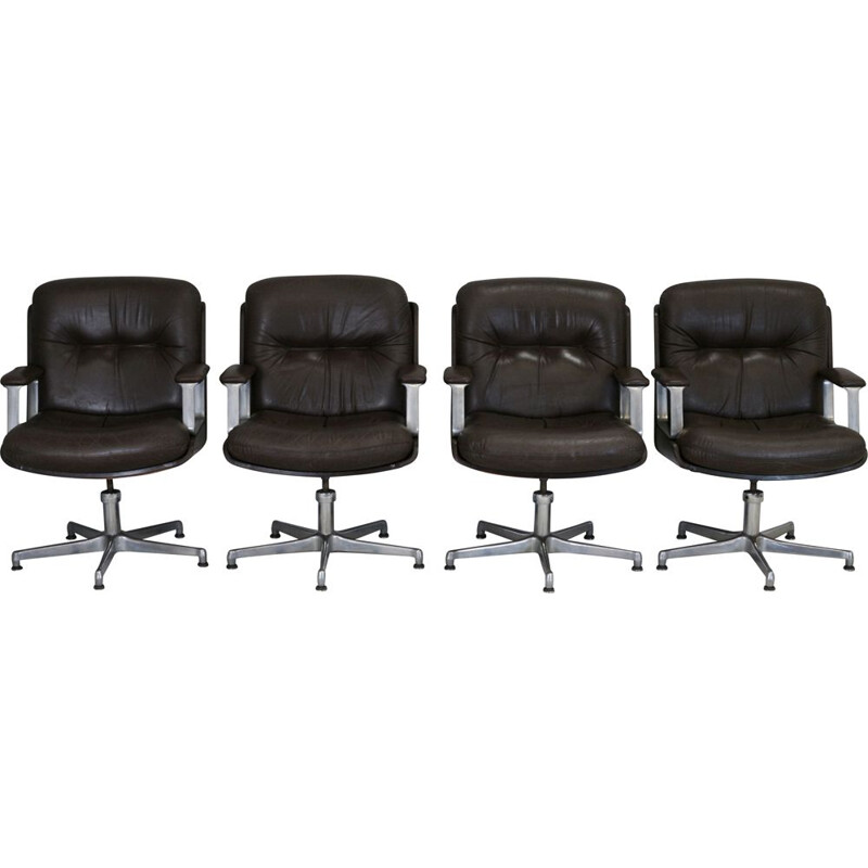 Lot of 4 Vaghi Vintage Brown Leather Office Armchair Italy 1960s