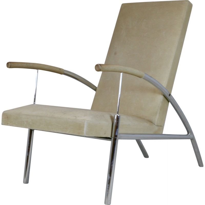 Vintage tubular steel and leather armchair 1970s
