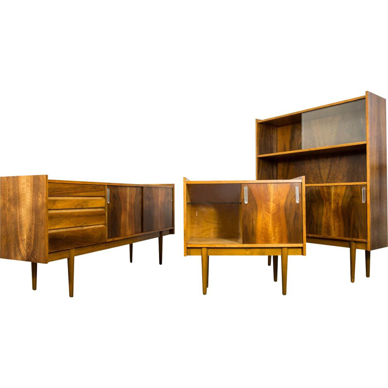 Set of vintage sideboard and mini bar and bookshelf N. 1050B By Bytomskie Fabryki Mebli