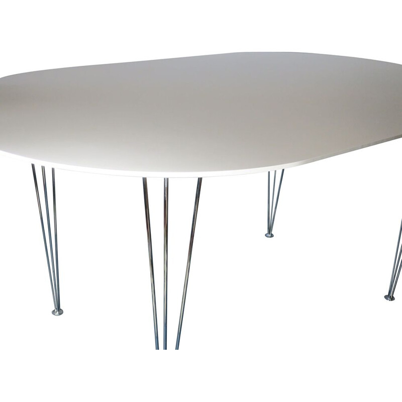 Vintage Ellipse-Shaped Dining Table with Hairpin Legs, Danish 1970