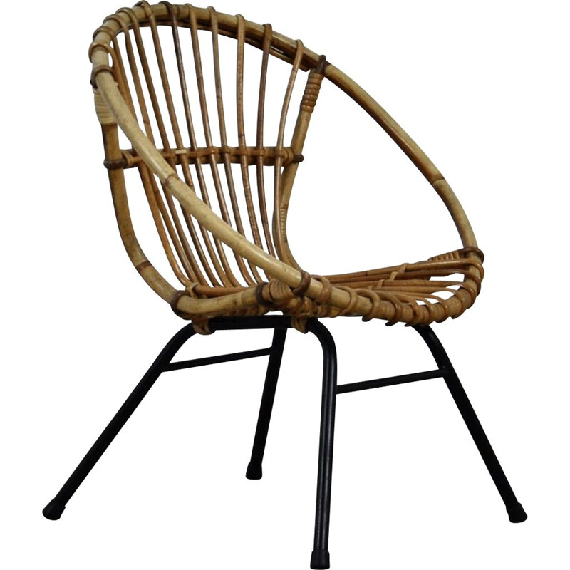 Vintage Children's Rattan Armchair from Rohe Noordwolde, 1960s