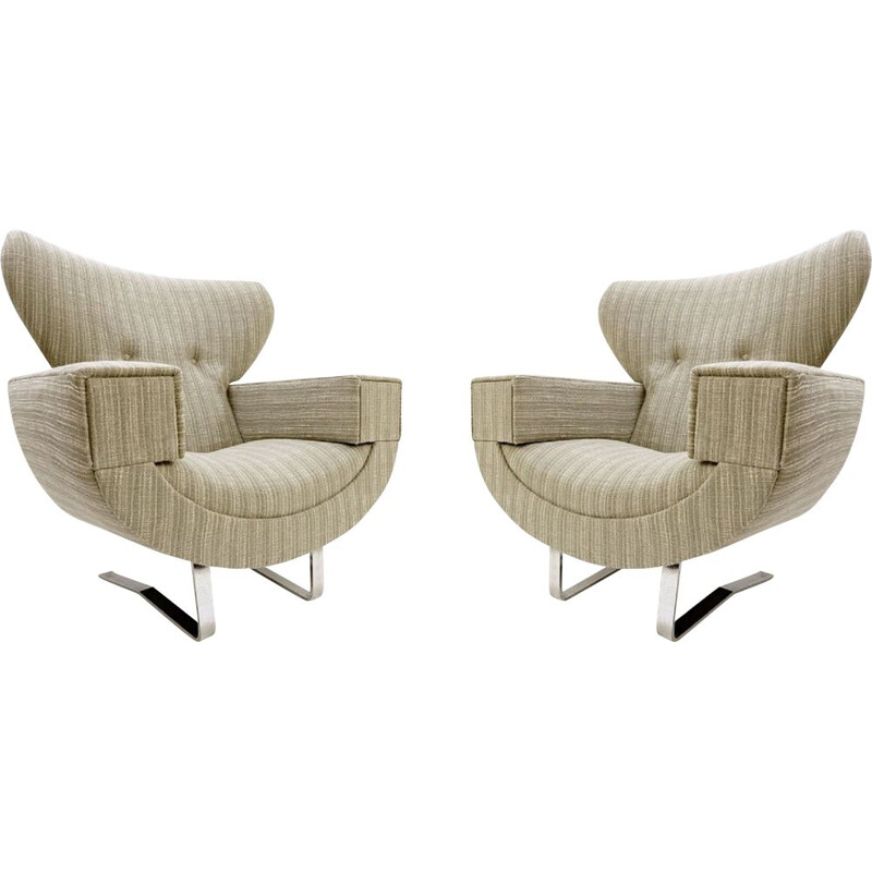 Pair of large vintage armchairs with chrome legs