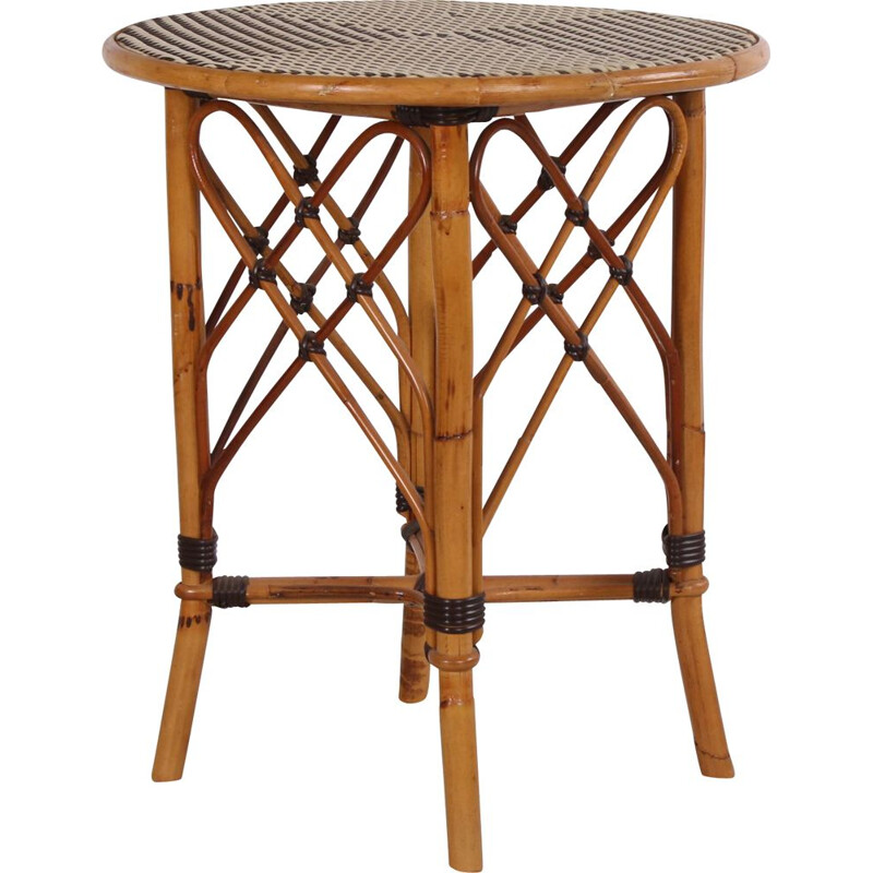 Vintage rattan and bamboo side table Bohème 1960