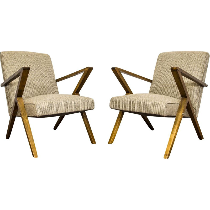 Pair of vintage armchairs by Odnowa 1960