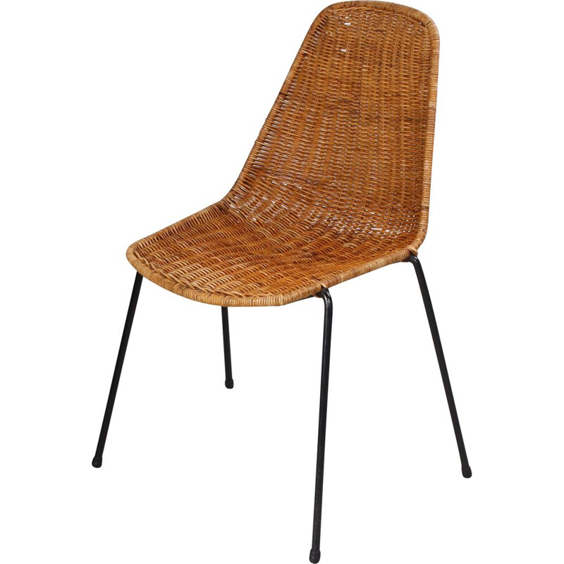 Vintage rattan basket chair by Gian Franco Legler 1953
