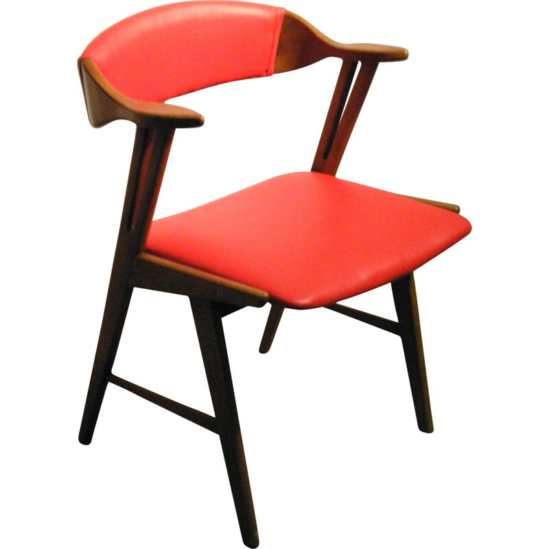 Vintage red leatherette office armchair 1950