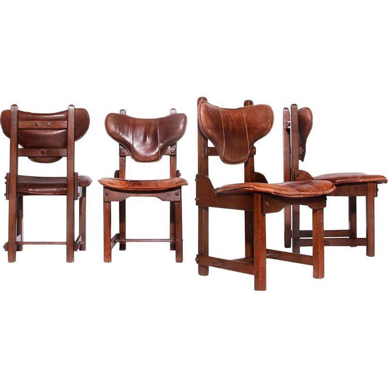 Set of 4 vintage leather and solid oak chairs Brutalist 1970