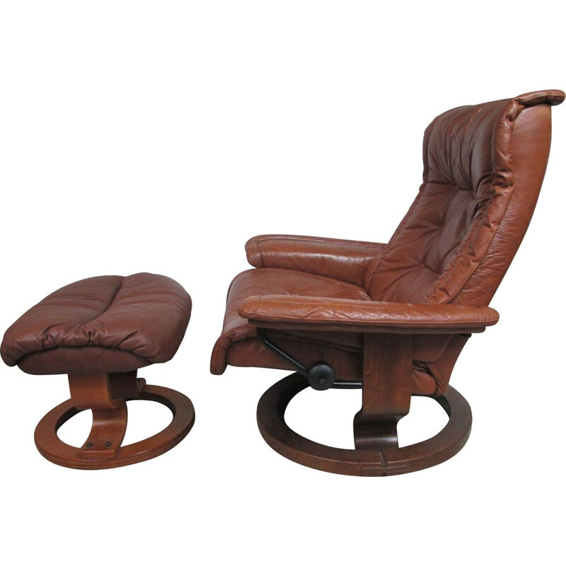 Vintage armchair with footrest 1970
