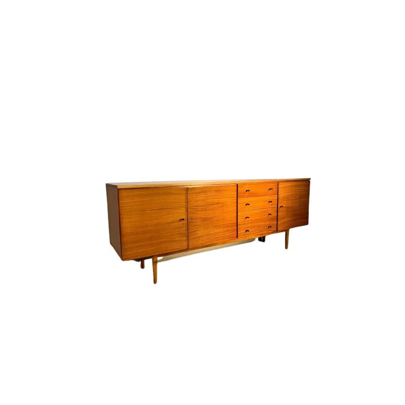 Long vintage honey chest of drawers 1960s