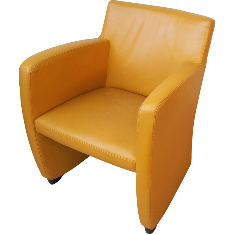 Vintage Leather Armchair in Yellow from Leolux