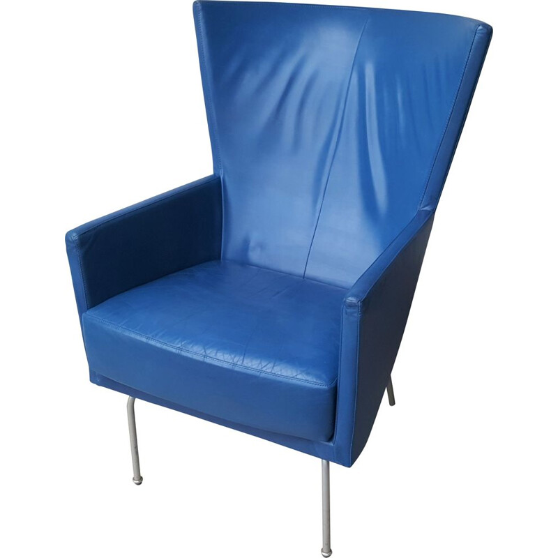Vintage Futuristic leather armchair in blue