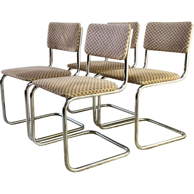 Set 4 mid century tubular chrome frame dining chairs 1960s