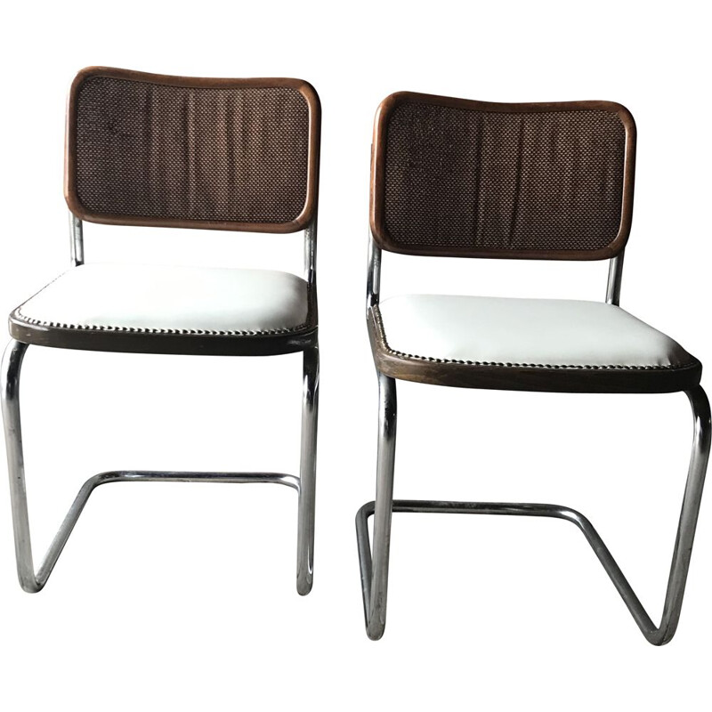 Pair of Mid Century Upholstered Cesca Chair Italy 1970