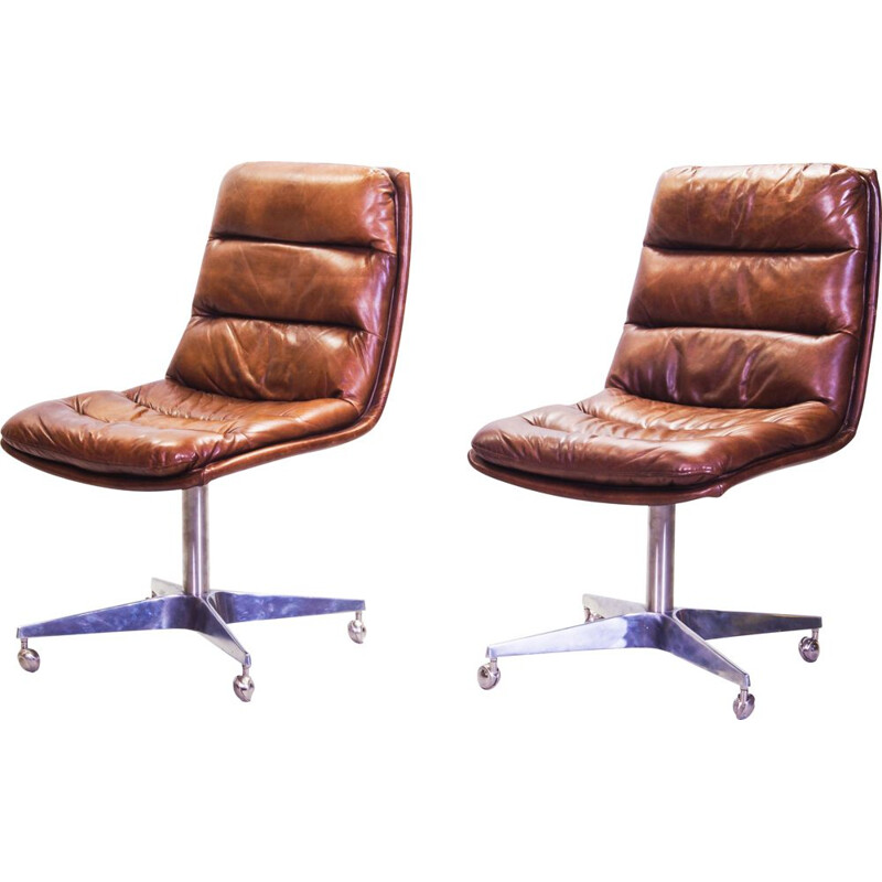 Pair of vintage Cognac Leather Swivel Chairs