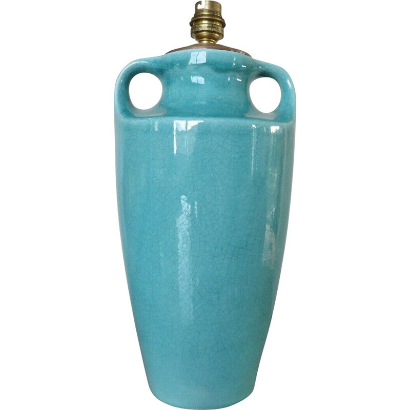 Vintage blue turquoise cracked ceramic amphora lamp 1960s