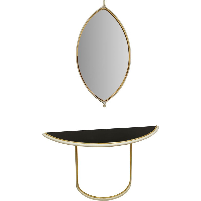 Vintage console with mirror tommaso barbi Italy 1970s