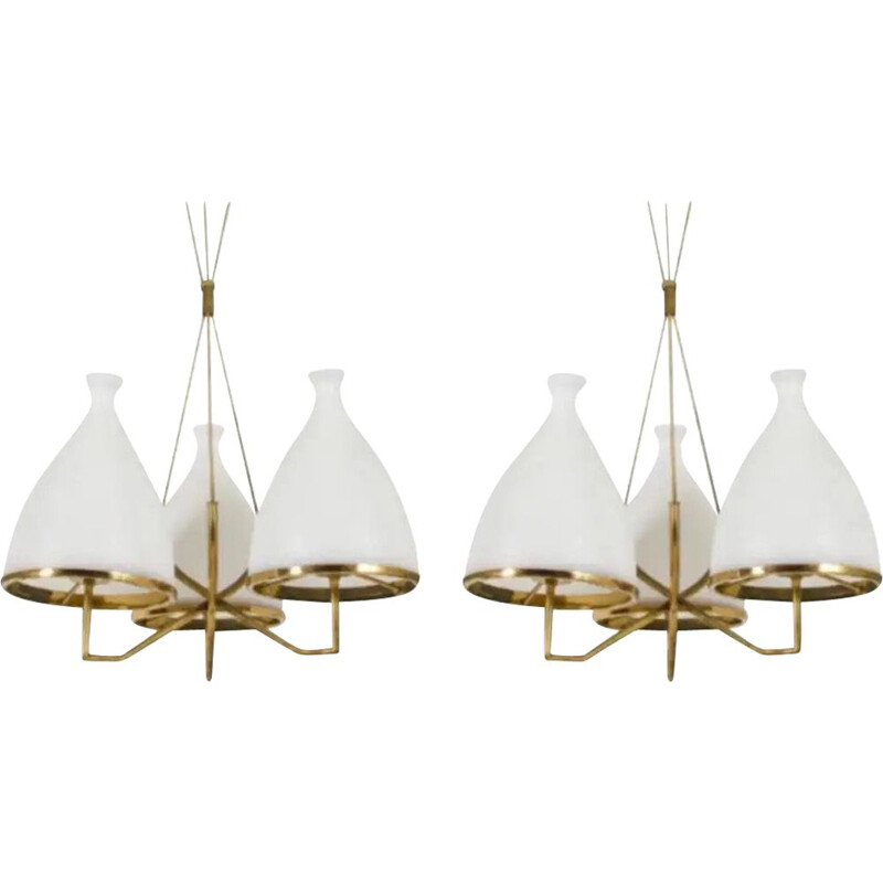 Pair of vintage Brass and White Glass Chandeliers 1950s