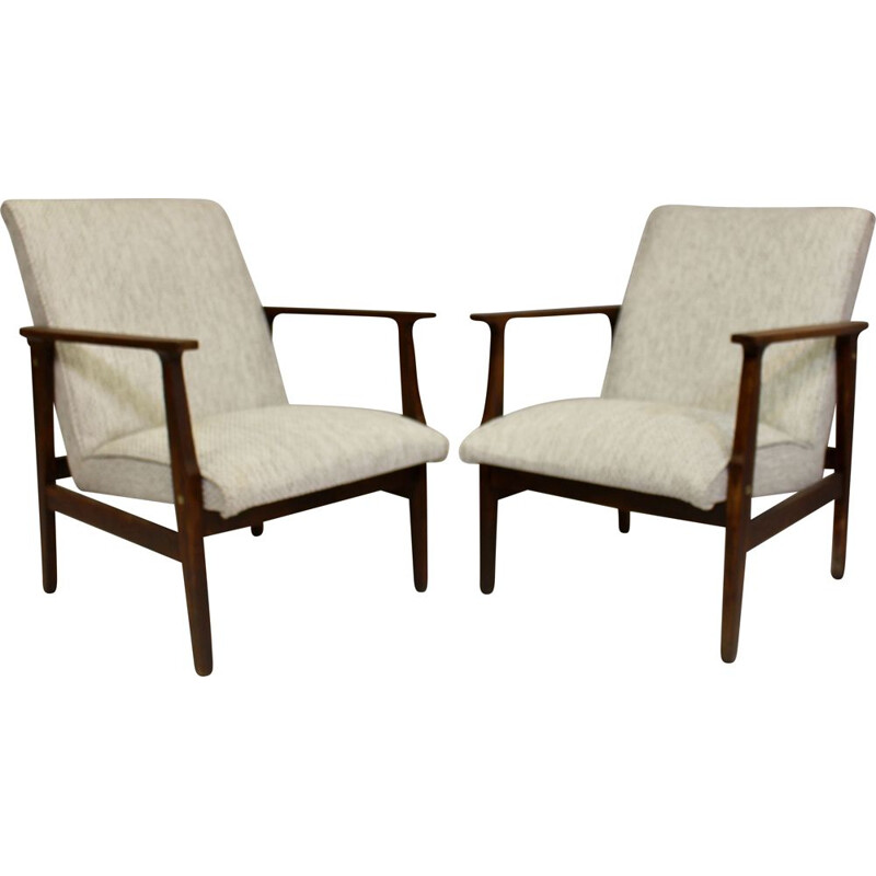 Pair of vintage armchairs heathered fabric Scandinavian 1950s