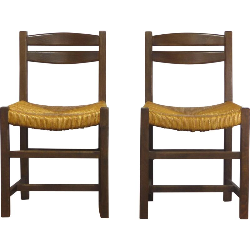 Pair of vintage straw chairs 1970s