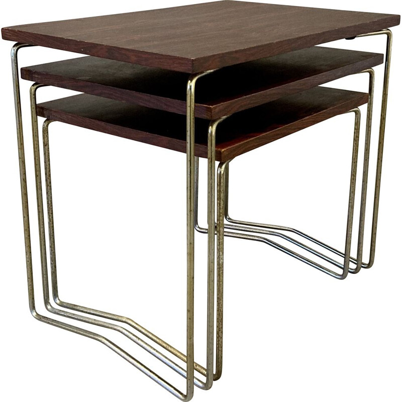 Vintage metal and rosewood nesting table 1950s