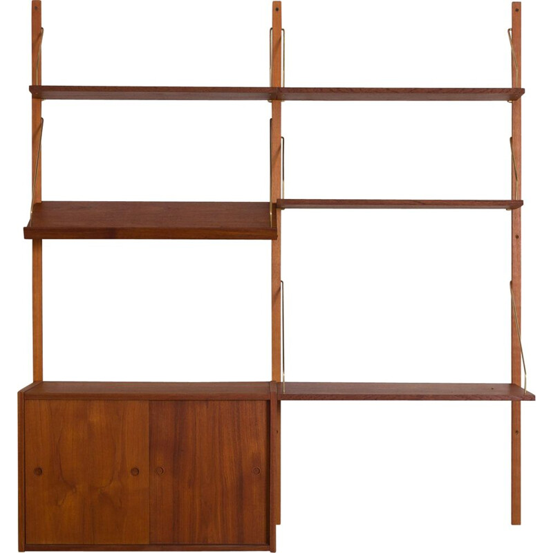 Vintage Teak wall unit with a desk and sliding doors cabinet by Preben Sorensen Cadovius Denmark