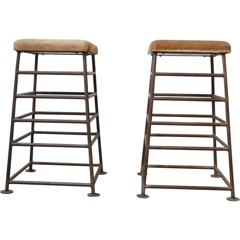 Pair of vintage Tall Gym Bench Stools English 1930s