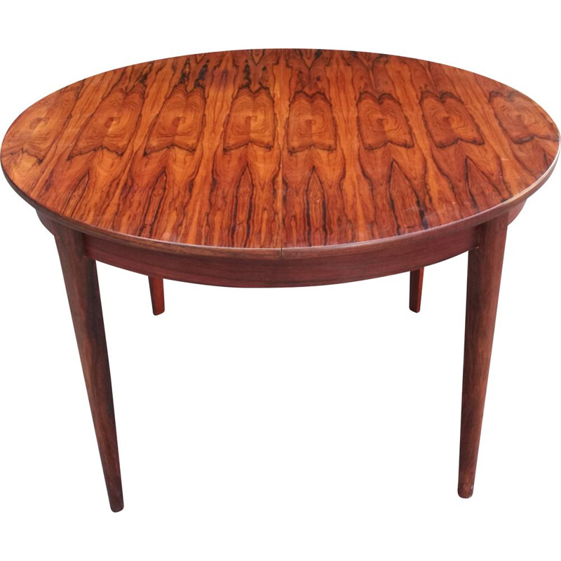 Vintage rosewood extensible round table 1960s