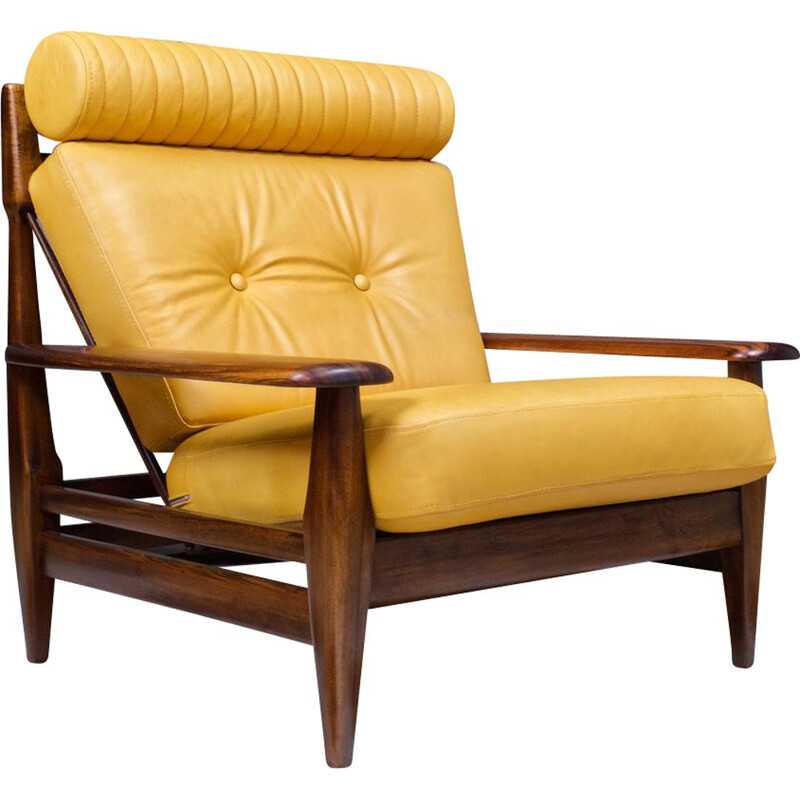 Vintage Lounge chair in Leather and rosewood 1960s